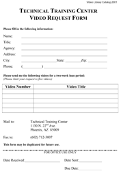 Video Request Form